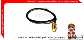 U.FL IPX to SMA Female Pigtail Cable 1.13mm 150Cm
