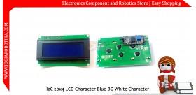 I2C 20x4 LCD Character Blue BG White Character