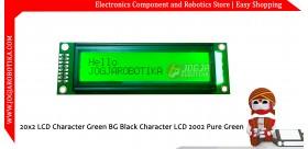 20x2 LCD Character Green BG Black Character