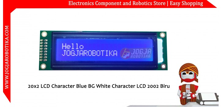 20x2 LCD Character Blue BG White Character