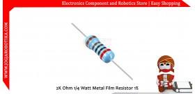 2K Ohm 1/4 Watt Metal Film Resistor 1%