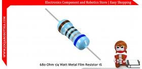 680 Ohm 1/4 Watt Metal Film Resistor 1%