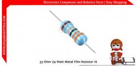 33 Ohm 1/4 Watt Metal Film Resistor 1%