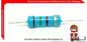 150 Ohm 1/2Watt Carbon Film Resistor