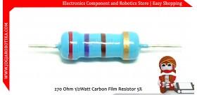 270 Ohm 1/2Watt Carbon Film Resistor