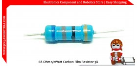 68 Ohm 1/2Watt Carbon Film Resistor