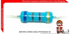 6K8 Ohm 1/2Watt Carbon Film Resistor