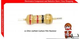 22 Ohm 1/4Watt Carbon Film Resistor