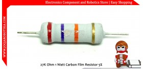 27K Ohm 1 Watt Carbon Film Resistor