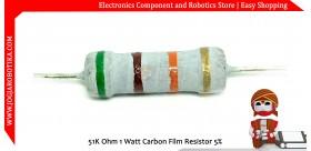 51K Ohm 1 Watt Carbon Film Resistor