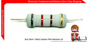 820 Ohm 1 Watt Carbon Film Resistor