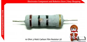 10 Ohm 3 Watt Carbon Film Resistor