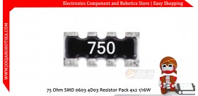 75 Ohm SMD 0603 4D03 Resistor Pack 4x2 1/16W