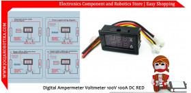 Digital Ampermeter Voltmeter 100V 100A DC RED