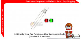 LED Bicolor 5mm Red Green Clear Common Cathode (Pure Green)