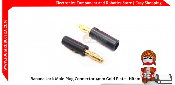 Banana Jack Male Plug Connector 4mm Gold Plate - Hitam