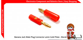 Banana Jack Male Plug Connector 4mm Gold Plate - Merah