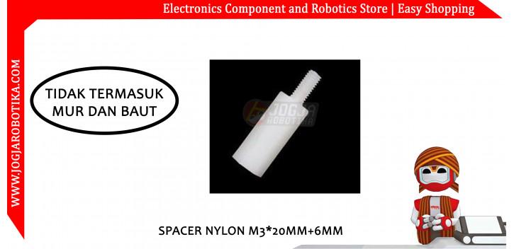 Spacer Nylon M3*20mm+6mm