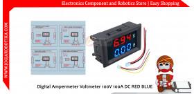 Digital Ampermeter Voltmeter 100V 100A DC RED BLUE