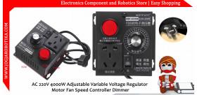AC 220V 4000W Adjustable Variable Voltage Regulator Motor Fan Speed Controller Dimmer