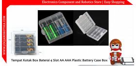 Tempat Kotak Box Baterai 4 Slot AA AAA Plastic Battery Case Box