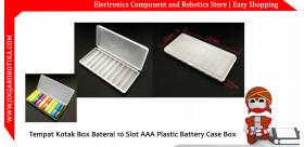 Tempat Kotak Box Baterai 10 Slot AAA Plastic Battery Case Box