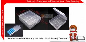 Tempat Kotak Box Baterai 4 Slot 18650 Plastic Battery Case Box