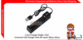 Li-ion Charger Single 1 Slot Universal USB Charger AAA AA 14500 18650 26650