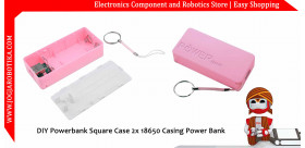DIY Powerbank Square Case 2x 18650 Casing Power Bank