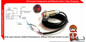 M18 Laser Sensor Visible Photoelectric Diffuse Infrared Switch 10-30V