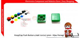 Knop/Cap Push Button 4 kaki 12x12x7.3mm - Hijau Persegi