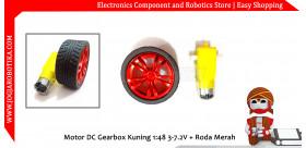 Motor DC Gearbox Kuning 1:48 3-7.2V + Roda Merah