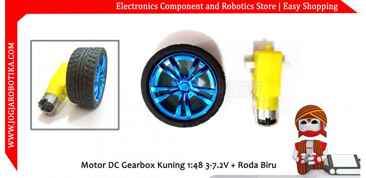 Motor DC Gearbox Kuning 1:48 3-7.2V + Roda Biru