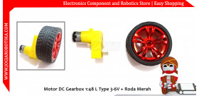 Motor DC Gearbox 1:48 L Type 3-6V + Roda Merah
