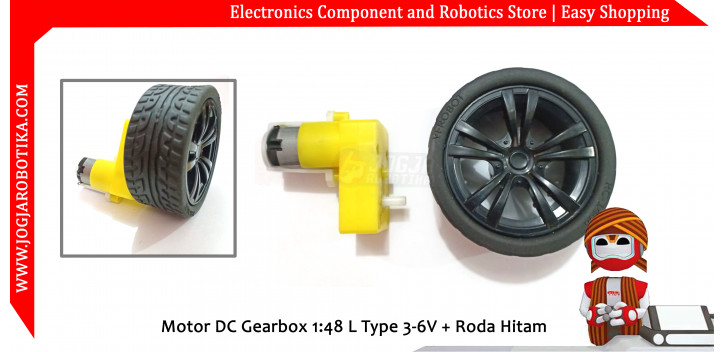 Motor DC Gearbox 1:48 L Type 3-6V + Roda Hitam