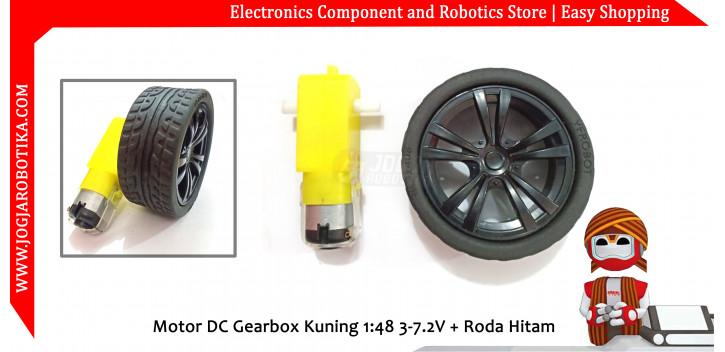 Motor DC Gearbox Kuning 1:48 3-7.2V + Roda Hitam