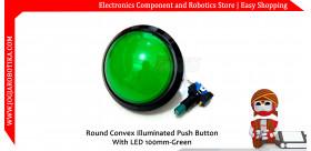 Tombol Acara Kuis Round Convex Illuminated Push Button With LED 100mm-Green