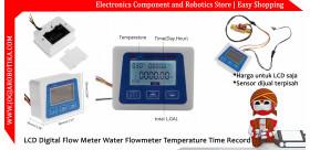 LCD Digital Flow Meter Water Flowmeter Temperature Time Record