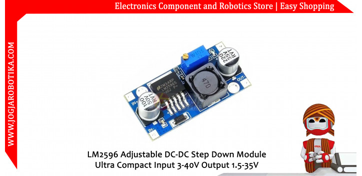 LM2596 adjustable DC-DC step down module ultra compact input 3-40V output 1.5-35V