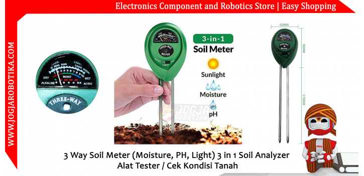 3 In 1 Soil Analyzer (Moisture, PH, Light) Alat Cek Kondisi Tanah