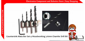 Countersink Mata Bor Set 4 Woodworking 3-6mm Chamfer Drill Bit