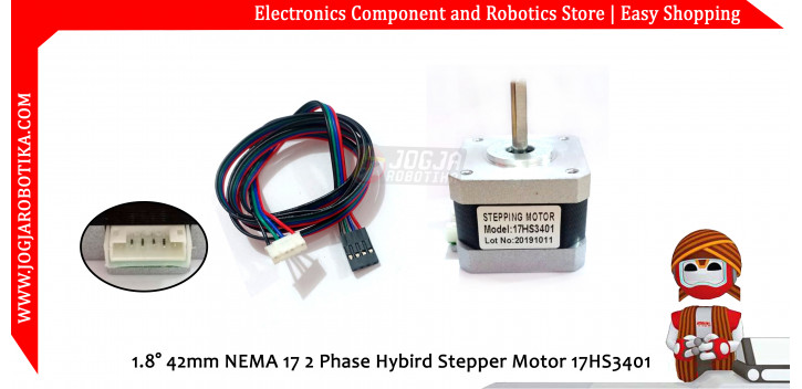 1.8° 42mm NEMA 17 2 Phase Hybird Stepper Motor 17HS3401