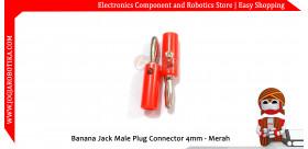 Banana Jack Male Plug Connector 4mm - Merah