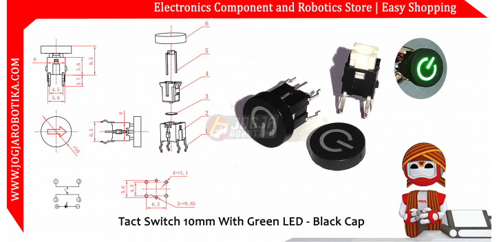 Tact Switch 10mm With Green LED - Black Cap