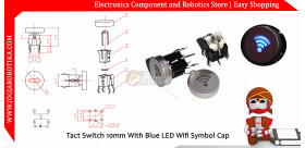 Tact Switch 10mm With Blue LED Wifi Symbol Cap