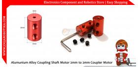Alumunium Alloy Coupling Shaft Motor 2mm to 2mm Coupler Coupling Motor