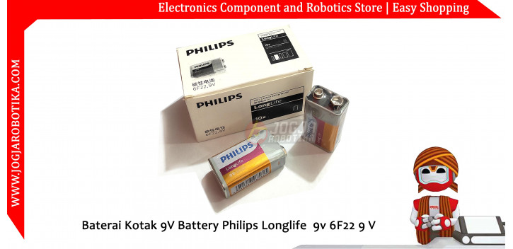 Baterai Kotak 9V Battery Philips Longlife 9v 6F22 9 V