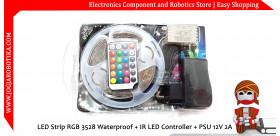 LED Strip RGB 3528 5 Meter Waterproof + IR LED Controller + PSU 12V 2A
