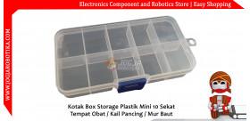 Kotak Box Storage Plastik Mini 10 Sekat Tempat Komponen / Obat / Kail Pancing / Mur Baut