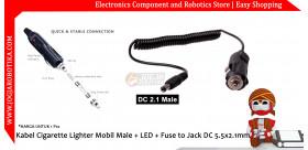 Jack Cigarette Lighter Socket Male + LED + Fuse to Jack DC 5.5x2.1mm